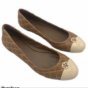 Tory Burch Kaitlin Quilted Tan Cream Flats 8.5